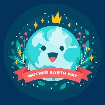 Flat mother earth day illustration concept