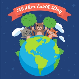 Flat mother earth day illustration with animals