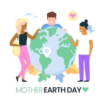 Flat mother earth day illustration with friends