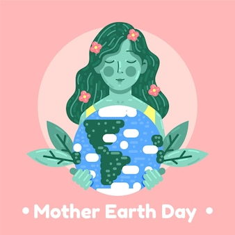 Flat mother earth day illustration