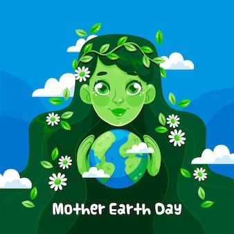 平的母亲地球天例证