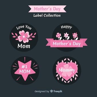 플랫 어머니의 날 배지 컬렉션