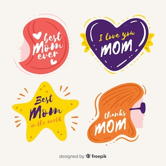 Flat mother's day badge collection