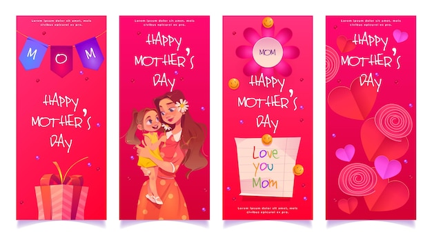 Flat mother's day banner set