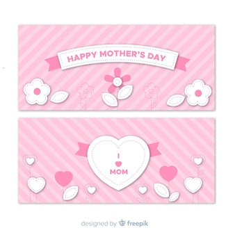 Flat mother's day banner