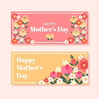 Flat mother's day banners set