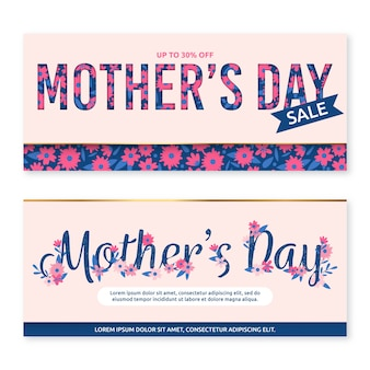 Flat mother's day banners