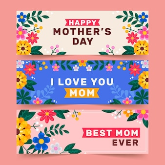 Flat mother's day horizontal banners set