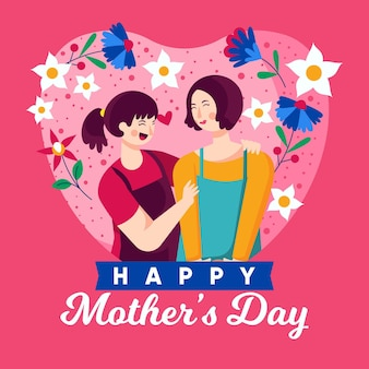 Flat mother's day illustration