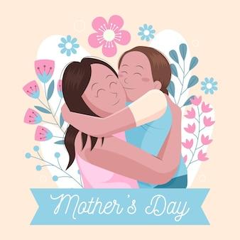 平らな母の日のイラスト