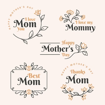 Flat mother's day label set