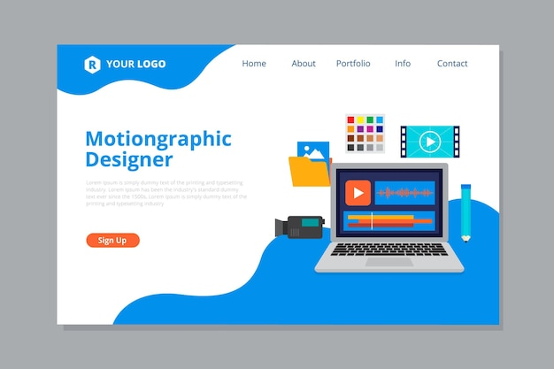 Flat motion graphics landing page template