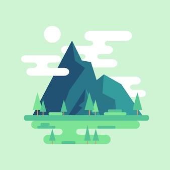 平らな山の風景。雲と空の太陽。