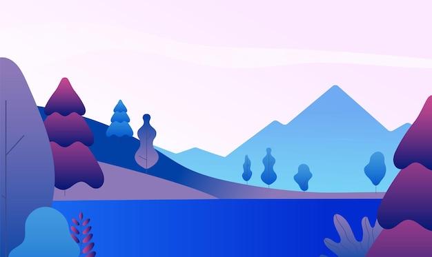 平らな山の風景。夕方には山頂、湖、木々のある自然のパノラマ。