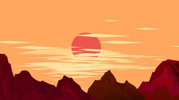 Плоский горный закат пейзаж