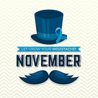 Flat movember background with ribbon