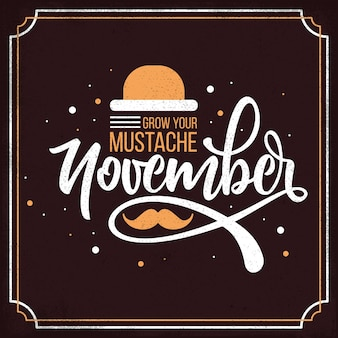 Flat movember lettering on dark background