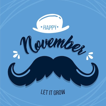 Flat movember with hat background