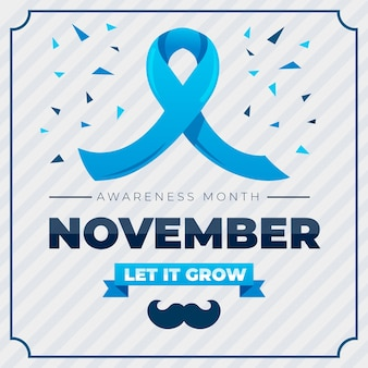 Flat movember with ribbon and confetti