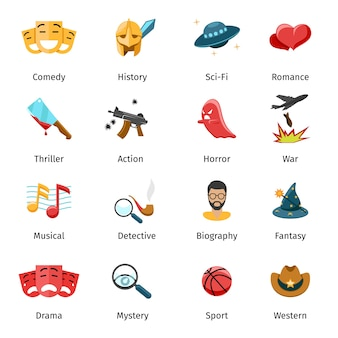 Flat movie genres vector icons. sport and mystery, drama and fantasy, biography and war, horror and thriller illustration