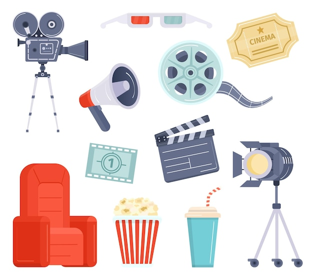 Flat movie watching and production element, cinema ticket, film and popcorn. cartoon video camera, director megaphone and clapper vector set. equipment and tools for cinematography industry