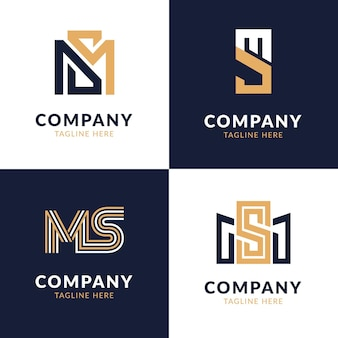 Flat ms logo design pack