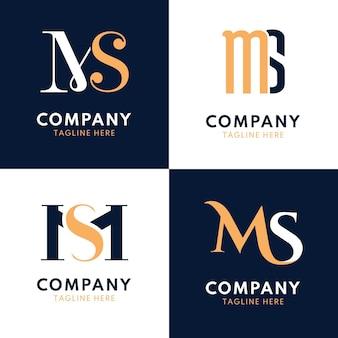 플랫 ms 로고 디자인 팩