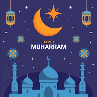 Illustrazione di muharram piatto