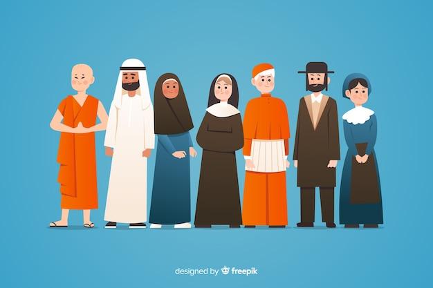 平らな多民族の人々のグループ