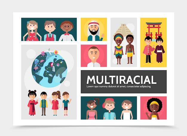 平らな多民族の人々のインフォグラフィックの概念と多民族および多文化の家族の世界の全国的な観光スポットのイラスト