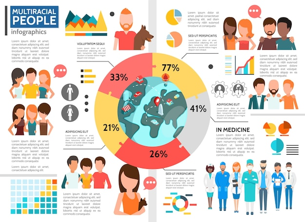 Flat multiracial people infographic template