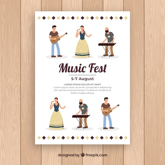 Flat music fest poster with music band