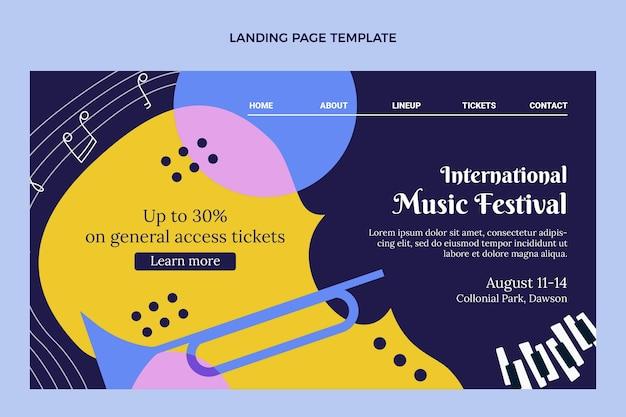 Flat music festival landing page