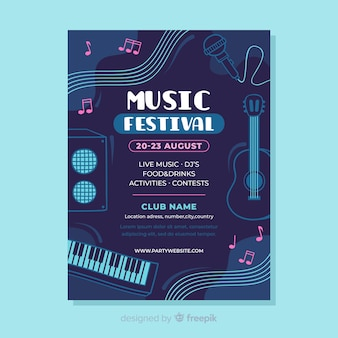 Flat music festival poster template