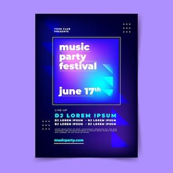 Modello di manifesto verticale del festival musicale piatto