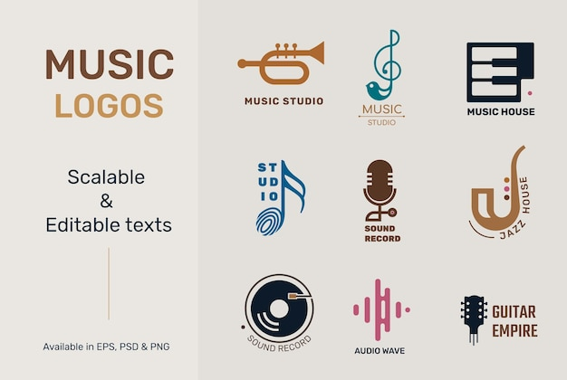 Flat music logo vector with editable text set