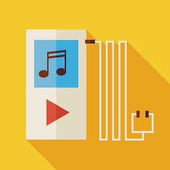 긴 그림자와 평면 음악 플레이어 그림입니다. 전자 기술. 예술 엔터테인먼트 벡터 일러스트 레이 션. 플랫 스타일 다채로운 악기 개체입니다. 음악 듣기. 헤드폰으로 재생