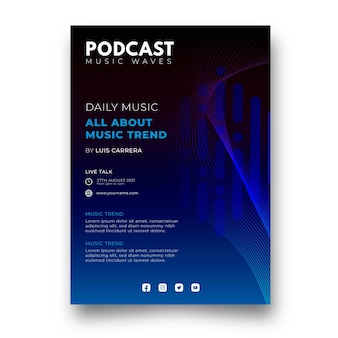 Flat music podcast poster template