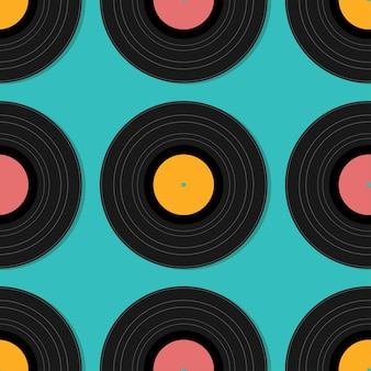 Flat music vintage vinyl seamless plate isolated vector illustration. retro abstract design template. party poster.