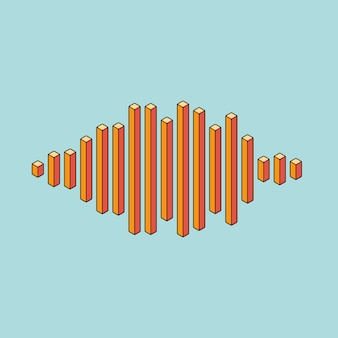 Flat music wave icon made of peak lines