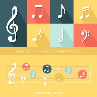 Flat musical elements set
