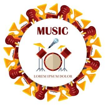 Flat musical instrumets round banner