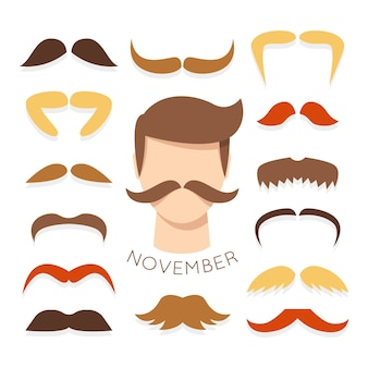 Flat mustache collection for movember