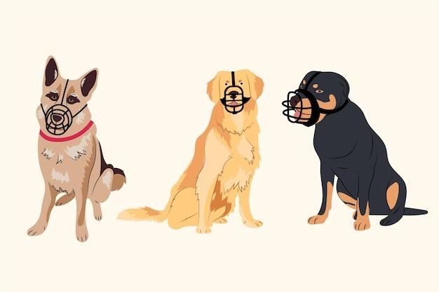 Иллюстрированный набор животных с плоской мордой
