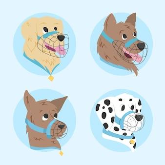 플랫 muzzled 동물 컬렉션