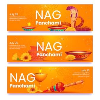 플랫 nag panchami 배너 세트