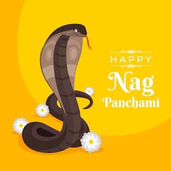 Flat nag panchami illustration