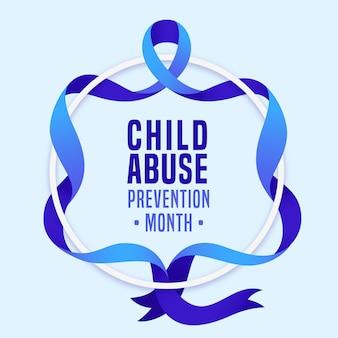 평면 국가 아동 학대 예방 월 그림