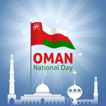 Flat national day of oman temple