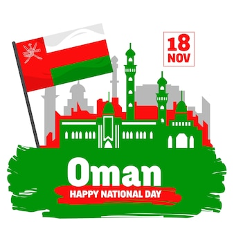 Flat national day of oman with palace